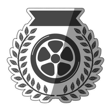 car wheel award sticker in monochrome with olive branch and ribbon with half shade vector illustration