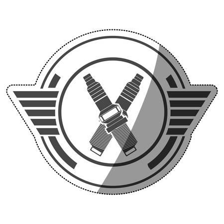 sticker spark plug award in monochrome with half shaded vector illustration