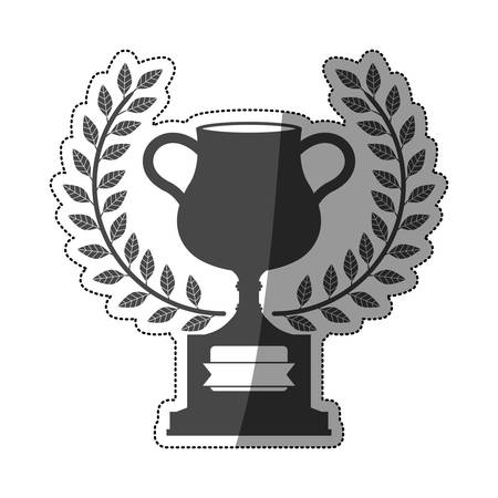 motorizado: sticker monochrome trophy cup with olive crown and half shaded vector illustration