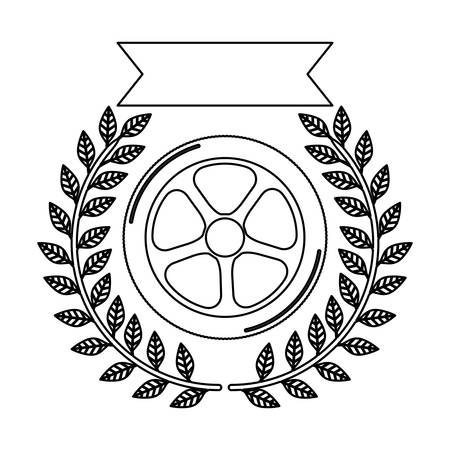 car wheel award silhouette in monochrome with olive branch and ribbon vector illustration