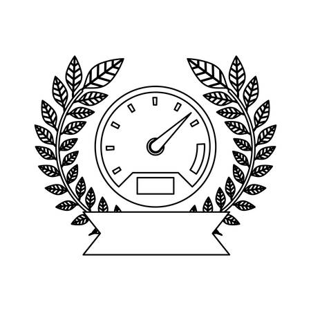 silhouette monochrome speedometer prize with ribbon and olive branch vector illustration