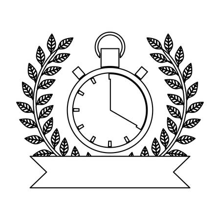 silhouette monochrome of chronometer prize with olive branch and ribbon vector illustration