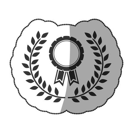medal sticker monochrome with ribbon and olive crown and half shaded vector illustration