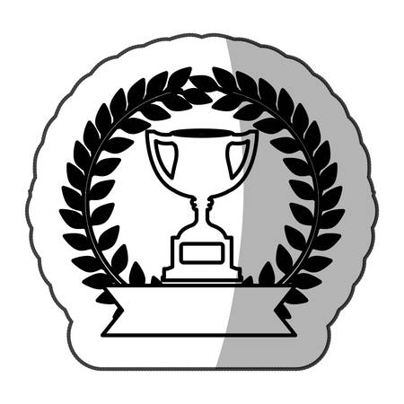sticker monochrome trophy cup with olive branch and ribbon and half shadow vector illustration