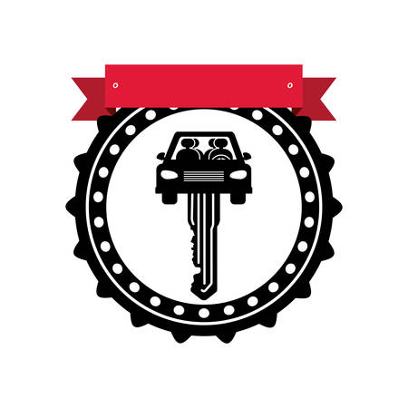 chassis: silhouette seal key in car shape with label vector illustration