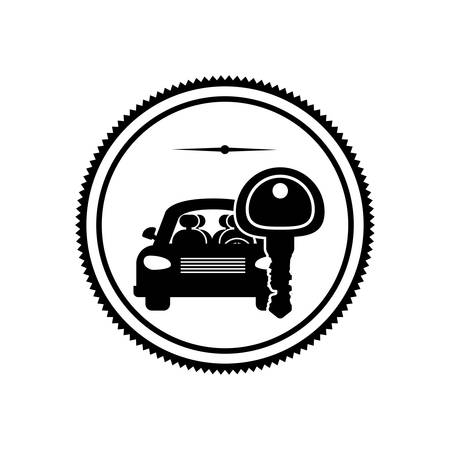 security lights: silhouette stamp with car and key vector illustration Illustration