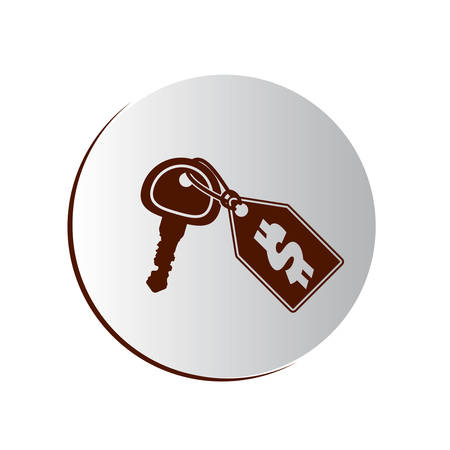degraded button with key and price tag vector illustration Illustration