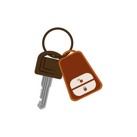key ring: key ring with alarm system vector illustration