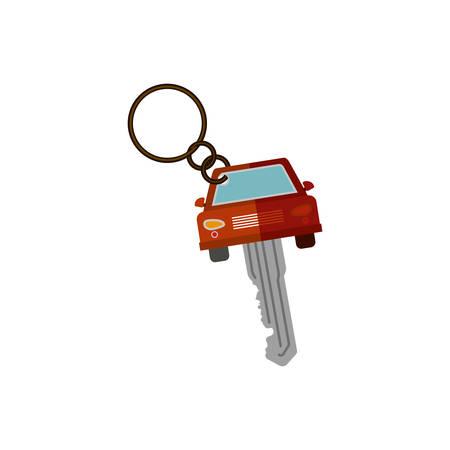 key ring: key ring in car shape vector illustration
