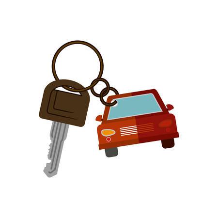 security lights: car shaped key chain icon vector illustration