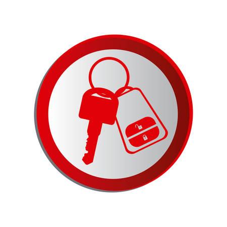 key ring: circular shape key ring with alarm system vector illustration