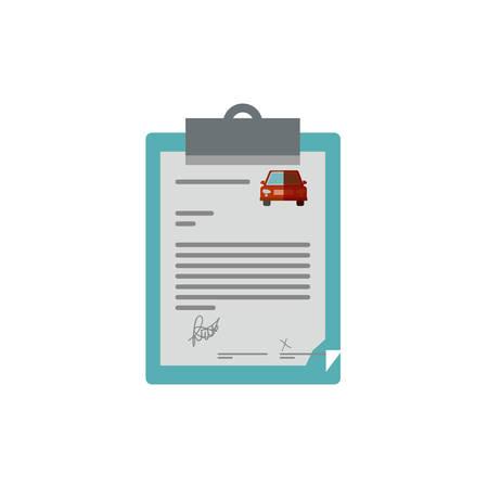 bloc-notes de table avec illustration vectorielle de contrat de voiture Vecteurs