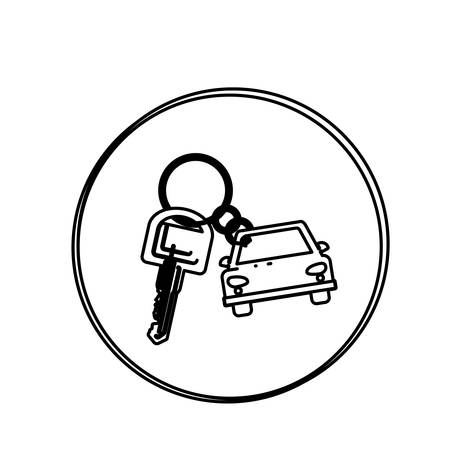 security lights: silhouette circular shape with car keychain icon vector illustration Illustration