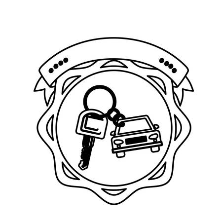 key ring: contour seal key ring car with label vector illustration