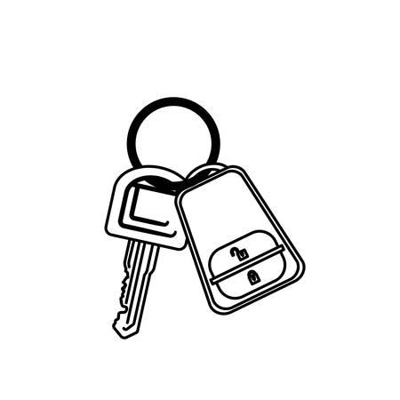 key ring: silhouette key ring with alarm system vector illustration Illustration