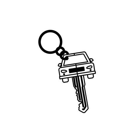 key ring: silhouette key ring in car shape vector illustration Illustration