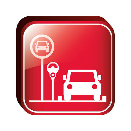 square button parking area for vehicles with parking meter vector illustration