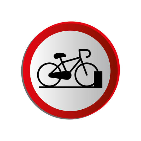 circular contour road sign with bicycle icon vector illustration Illustration