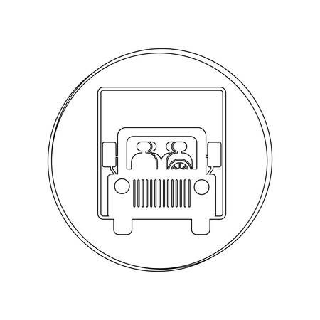 silhouette contour: silhouette circular contour road sign of bus crossing vector illustration Illustration