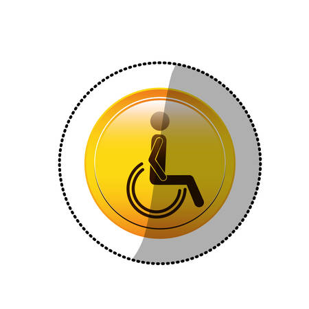 dotted sticker with person sitting wheelchair vector illustration Illustration