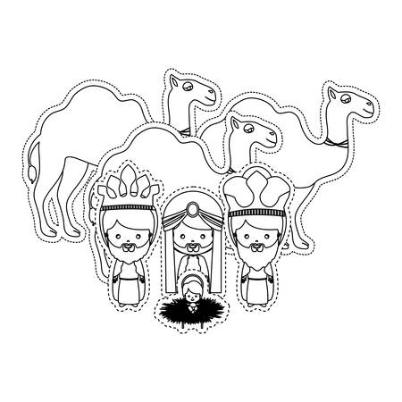 melchor: silhouette set collection christmas nativity vector illustration Illustration