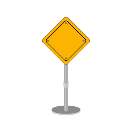 yellow beware: yellow road sign design of safety vector illustration