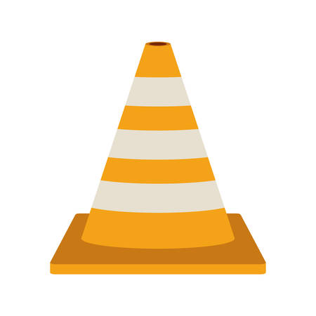 road works ahead: striped traffic cone flat icon vector illustration