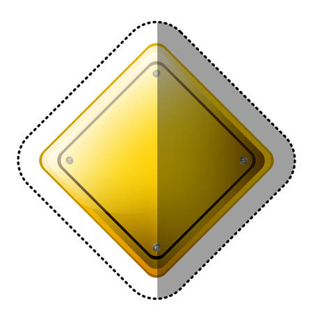 dotted sticker rhombus safety road sign yellow vector illustration Illustration