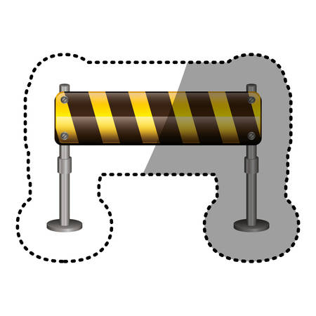dotted sticker street traffic barrier icon vector illustration