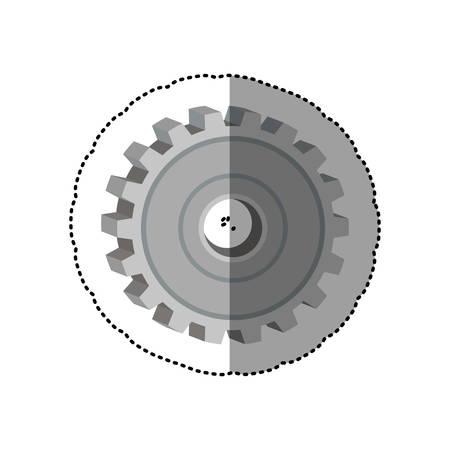 dotted sticker gear wheel icon degraded vector illustration