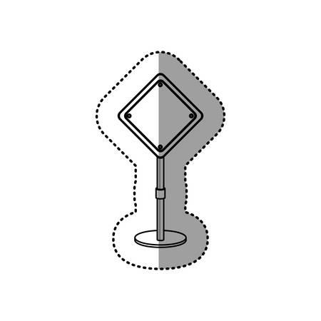 preventive: gray silhouette dotted sticker preventive road sign vector illustration