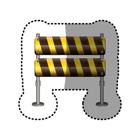 dotted sticker pair street traffic barrier vector illustration