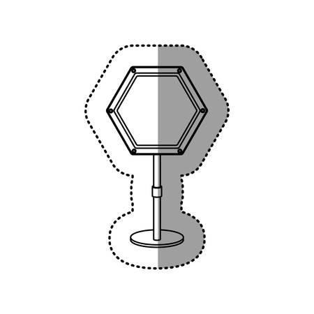 gray silhouette dotted sticker hexagon road sign vector illustration Illustration