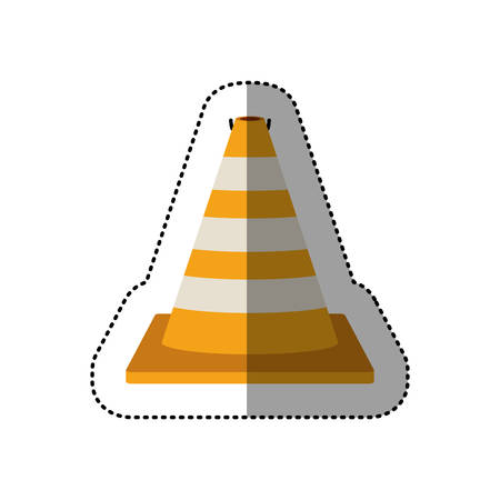 road works ahead: dotted sticker striped traffic cone degrade vector illustration