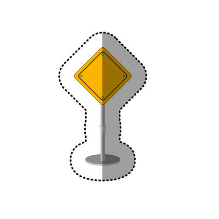preventive: dotted sticker yellow road sign vector illustration