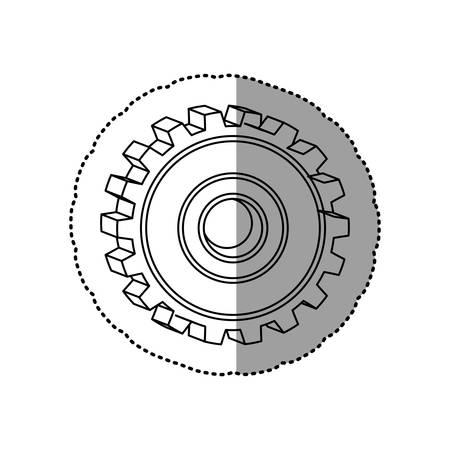 gray silhouette dotted sticker gear wheel vector illustration