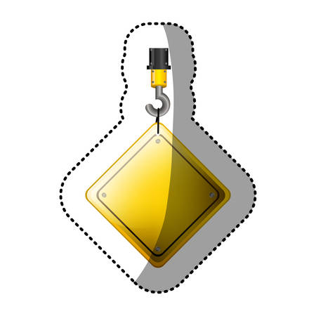 preventive: dotted sticker crane hook with rhombus safety road sign vector illustration Illustration