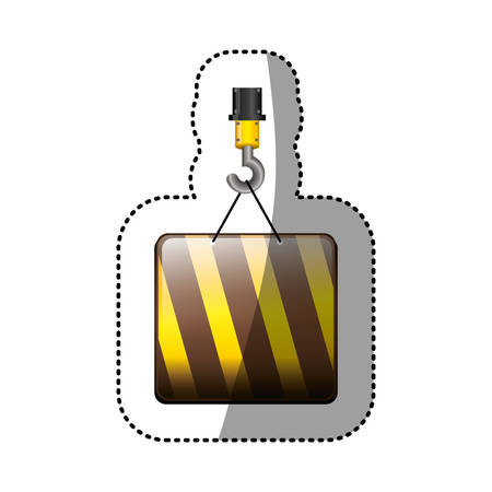 dotted sticker crane hook with square of traffic barrier vector illustration Illustration