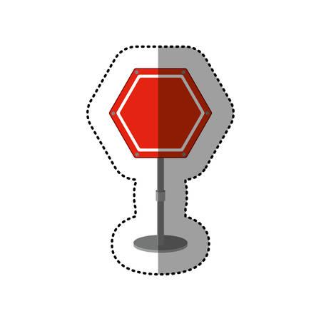 dotted sticker hexagon road sign red vector illustration Illustration