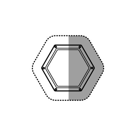 gray silhouette dotted sticker hexagon of road sign vector illustration Illustration