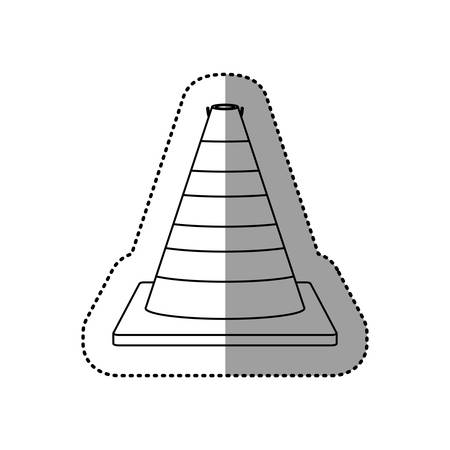 road works ahead: gray silhouette dotted sticker traffic cone vector illustration