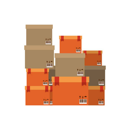 shipper: multiple boxes stacked and sealed vector illustration Illustration