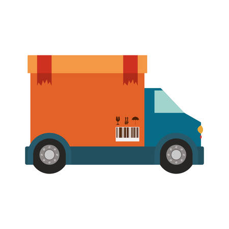transport truck with vagon of sealed packaging tape in carton with box cover vector illustration