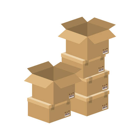 multiple boxes stacked and opened vector illustration 矢量图像