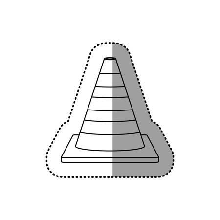 gray silhouette dotted sticker striped traffic cone vector illustration Illustration