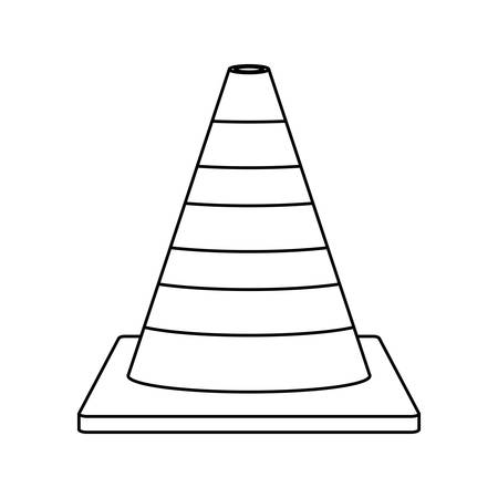 road works ahead: silhouette striped traffic cone icon vector illustration