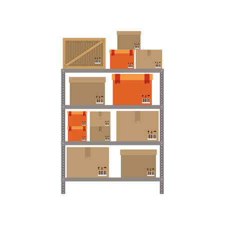 shipper: gray shelves with sealed package vector illustration
