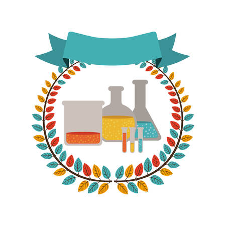 dissolution: colorful olive crown with ribbon and lab test tube vector illustration Illustration