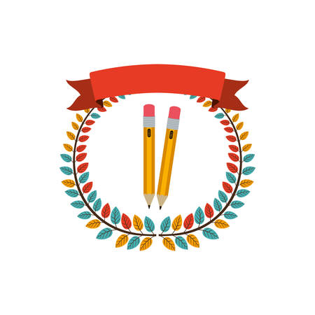 secondary: colorful olive crown with ribbon and two pencil vector illustration
