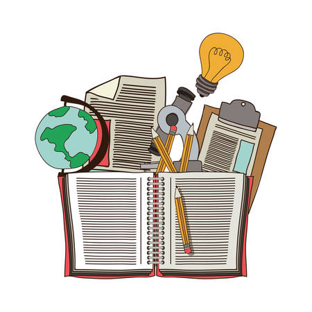 secondary: colorful silhouette with school supplies vector illustration Illustration